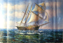 SHIP SAILING AT SEA medium large OIL PAINTING