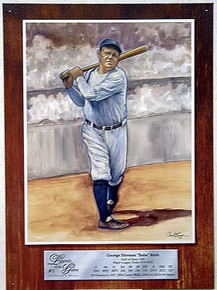 Photo of BABE  RUTH LEGEND BASEBALL SIGN, WITH STATS FROM HIS DAYS ON THE DIAMOND