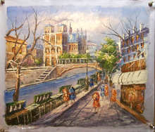 SHOPPERS BY CANAL BRIDGE medium OIL PAINTING