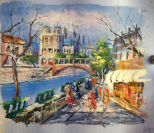 SHOPPERS BY CANAL WITH BRIDGE SMALLEST OIL PAINTING