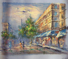 SHOPPERS IN PARIS small OIL PAINTING