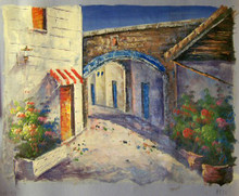 SIDE STREETS W/FLOWERS (RED & WHITE AWNING) small OIL PAINTING