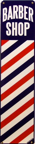 Photo of BARBER SHOP POLE SIGN ON HEAVY METAL SIGN HAS GREAT COLOR