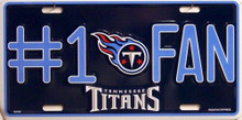 TENNESSEE TITANS FOOTBALL #1  FAN LICENSE PLATE