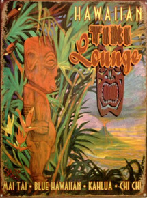 TIKI LOUNGE ENAMEL SIGN VIBRANT COLORS AND HAWAIIAN DETAILS