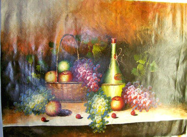 Photo of BASKET OF APPLES, WINE AND GRAPES X-LG  OIL PAINTING