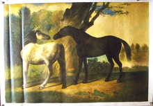 TWO HORSES IN CLEARING OIL PAINTING