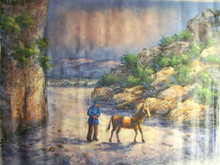 WALKING THE MULE large OIL PAINTING