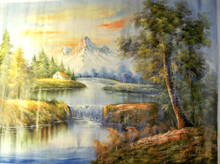 WATERFALL AND HOUSE IN MOUNTAINS large OIL PAINTING