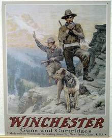 WINCHESTER 2 HUNTERS & DOG SIGN