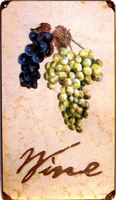 "Photo of WINE ""GRAPES""   RUSTIC, RETRO LOOKING PICTURE OF WINE GRAPES ON THE VINE, THIS HEAVY METAL SIGN IS READY TO HANG WITH HOLES IN EACH CORNER"