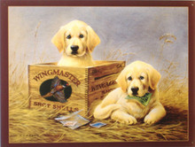 CUTE YELLOW LAB PUPS IN AND NEXT TO AN WINGMASTERS AMMO BOX MAKE THIS AN EXCELLENT SIGN FOR THE SPORTSMAN'S COLLECTION