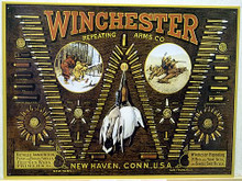 """Photo of WIN. """" W""""  BULLET BOARD SHOWS ALL THE BULLETS WINCHESTER MADE AT THE TIME ON THIS """"TIN"""" SIGN"""