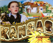 THIS METAL SIGN - POSTCARD FROM KANSAS HAS GREAT COLOR AND ATTENTION TO DETAIL