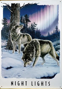 """Photo of WOLVES, NOTHERN LIGHTS""""  THIS SIGN CAPTURES A SCENE FROM THE FAR NORTH WHERE WOLVES ENJOY THE SHOW"""