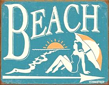 Photo of BEACH WITH ARROW POINTING TOWARDS BEACH, RETRO COLORS AND GRAPHICS ARE EXCELLENT