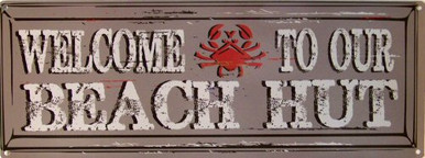 Photo of BEACH HUT & CRAB ENAMEL SIGN WITH A WORN LOOK THAT MAKES IT LOOK MUCH OLDER THAN IT REALLY IS