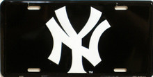 "METAL LICENSE PLATE Size: 11 3/4"" w X 6"" h WITH HOLE FOR EASY MOUNTING A GREAT ADDITION TO THE COLLECTION OF ANY YANKESS FAN"