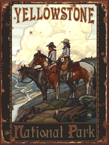 """ENAMEL ON HEAVY METAL Sign Size: 12"""" w X 16"""" h, WITH HOLES IN EACH CORNER FOR EASY MOUNTING THIS ENAMEL SIGN HAS RICH COLOR AND ATTENTION TO DETAIL AND WOULD BE A GREAT ADDITON FOR HORSE RIDERS OR YELLOWSTONE PARK COLLECTORS"""