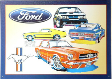 """Sign Size: 17 3/8"""" w X 12 1/2"""" h  WITH PRE-DRILLED HOLES FOR EASY MOUNTING FORD MUSTANG, COLLAGE, GREAT CARS, GREAT COLORS, SUPER GRAPHICS A MUST FOR ANY COLLECTION"""