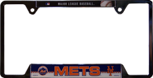 "METAL LICENSE PLATE FRAME 12 1/4"" W X 6 1/4"" H X 1/4"" D  WITH PRE-DRILLED HOLES FOR EASY MOUNTING  A GREAT ADDITION TO ANY NEW YORK METS BASEBALL FAN'S COLLECTION, SUPER COLORS AND GRAPHICS"