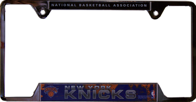 """METAL LICENSE PLATE FRAME 12 1/4"""" W X 6 1/4"""" H X 1/4"""" D  WITH PRE-DRILLED HOLES FOR EASY MOUNTING  A GREAT ADDITION TO ANY NEW YORK KNICKS FAN'S COLLECTION, SUPER COLORS AND GRAPHICS"""