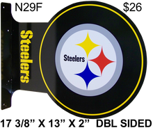 "READY TO HANG ON WALL, LOGO VIEWABLE FROM BOTH SIDED,  13 1/2"" H X 17 1/2"" L   (FLANGE MEASURES 13 1/2"" X 2"") with holes for easy mounting   A SUPER ADDITION FOR ANY AVID PITTSBURGH STEELERS FOOTBAL FAN'S COLLECTION, GREAT COLORS AND GRAPHICS"