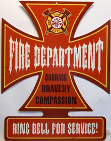 THIS SIGN IS A LARGE, PLASMA CUT DESIGN ON A HEAVY METAL WITH THE DURABLE SUBLIMATION PROCESS FOR GREAT COLORS AND EXCELLENT ATTENTION TO DETAL, A GREAT ADDITION TO ANY FIREFIGHTER OR FUTURE FIREFIGHTERS COLLECTION