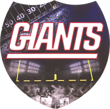 "SMALL PLASTIC DIE CUT INTERSTATE SHAPE FOOTBALL SIGN,  APOX 8"" X 8""  with holes for easy mounting  A SUPER ADDITION TO ANY NEW YORK GIANTS FOOTBALL FAN'S COLLECTION, GREAT GRAPHICS AND COLOR"