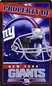 "PLASTIC FOOTBALL SIGN,   7 1/4"" W X 12"" H,   WITH HOLE(S) FOR EASY MOUNTING  A GREAT ADDITION FOR ANY NEW YORK GIANTS FOOTBALL FANS COLLECTION, EXCELLENT COLOR AND GRAPHICS"