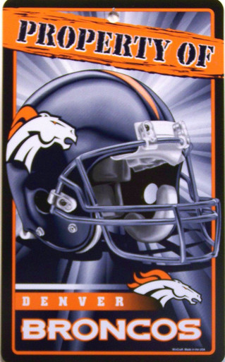 "DURABLE PLASTIC FOOTBALL SIGN 7 1/4"" w X 12"" h WITH HOLE(S) FOR EASY MOUNTING  GREAT SIGN FOR A DENVER BROCONS FAN'S COLLECTION, VERY COLORFUL AND DETAILS"