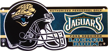 "HEAVY DUTY DURABLE PLASTIC FOOTBALL SIGN APOX 20"" W X 8"" H GREAT SIGN FOR THE JACKSONVILLE JAGUARS FAN'S COLLECTION, THIS SIGN HAS BEEN OUT OF PRODUCTION FOR YEARS AND QUANTITIES ARE LIMITED"