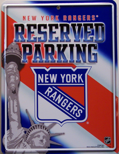 """METAL HOCKEY SIGN 8 1/2"""" w X 11"""" h  WITH HOLE(S) FOR EASY MOUNTING  GREAT COLOR AND GRAPHICS FOR THE RANGERS FAN'S COLLECTION"""