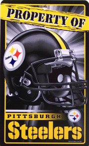 PROPERTY OF PITTSBURGH STEELERS FOOTBALL SIGN IS MADE OF DURABLE, FLEXIBLE PLASTIC