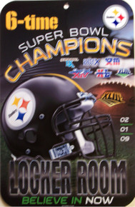 "HEAVY DUTY DURABLEPLASTIC FOOTBALL SIGN     10 3/4"" w X 16 1/2"" h  A MUST FOR THE PITTSBURGH STEELER FANS, GREAT COLORS AND ATTENTION TO DETAILVERY LIMITED QUANTITY, THIS SIGN IN NO LONGER BEING PRODUCED"