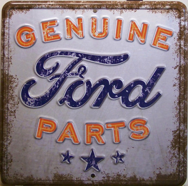 """METAL EMBOSSED SIGN 12"""" X 12"""" NOSTALGIC, RUSTIC LOOKING FORD SIGN, GREAT COLORS AND DETAILS"""