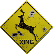 "METAL EMBOSSED SIGN 12"" X 12"" with hole(s) for easy mounting EMBOSSED WITH IMITATION BULLET HOLE IS A GREAT SIGN FOR HUNTERS"