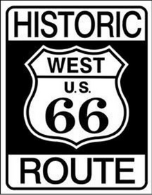 "METAL SIGNS 12 1/2"" W X 16"" H, WITH HOLES IN EACH CORNER FOR EASY MOUNTING  HISTORIC, ICONIC RT 66 SIGN, GREAT GRAPHICS AND DETAIL"