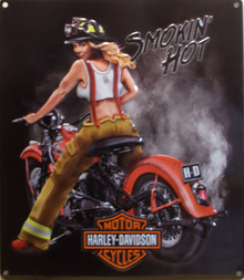 EMBOSSED, 3-D METAL SIGN WITH GREAT COLORS, GIRL WEAR FIRE DEPT. GEAR, GREAT DETAIL