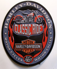 HARLEY EMBOSSED OVAL SIGN HAS GREAT DETAIL, COLOR AND GRAPHICS