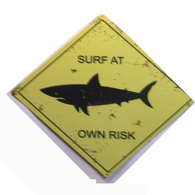 "ENAMEL SIGN MEASURES 16"" W X 12"" H ON HEAVY METAL  HOLES IN EACH CORNER MAKE IT EASY TO MOUNT MUTED COLORS MAKE THIS SHARK WARNING SIGN LOOK OLD GREAT FOR ANY SURFERS WALL OR AT THE BEACH HOUSE"