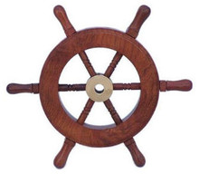 "6"" WOOD AND BRASS SHIPS WHEEL BEAUTIFULLY HANDCRAFTED ITEM"