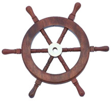 "9"" WOOD AND BRASS SHIPS WHEEL BEAUTIFULLY HANDCRAFTED ITEM"