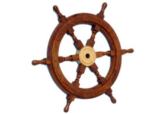"BEAUTIFULYL HANDCRAFTED WOOD & BRASS 18"" SHIPS WHEEL"