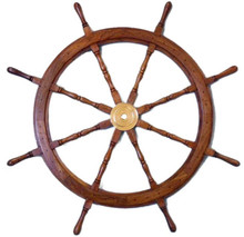 "48"" WOOD AND BRASS SHIPS WHEEL BEAUTIFULLY HANDCRAFTED ITEM"