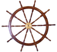 "60"" SOLID WOOD AND BRASS SHIPS WHEEL 60"" X 60"" X 3"" BEAUTIFULL CRAFTSMANSHIP"