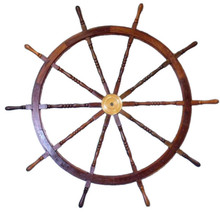 "72"" WOOD AND BRASS SHIPS WHEEL BEAUTIFULLY HANDCRAFTED ITEM"