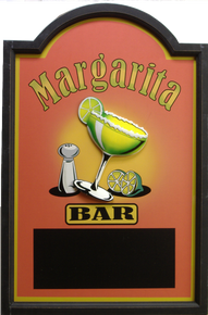 THIS THREE DIMENSIONAL SIGN HAS A 3D MARGARTIA GLASS AND A CHALK BOARD ON THE BOTTOM....NOT RECOMENDED FOR OUTDOOR USE. GRAT COLORS AND GRAPHICS