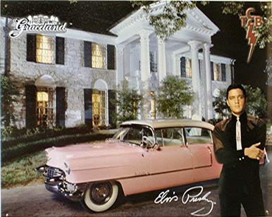GREAT METAL SIGN WITH ELVIS, A COPY OF HIS SIGNATURE, GRACELAND, THE PINK CADILLAC AND TCB IN THE UPPER RIGHT HAND CORNER. (TAKING CARE OF BUSINESS) WITH SUPER CLEAR DETAILS AND GREAT COLOR, ESPECIALLY WITH A NIGHT SHOT.