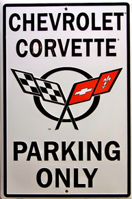 Metal sign for Corvette Parking Only has the Corvette Racing Flags in the center with nice detail and color